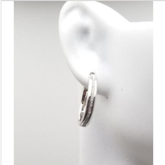 Sterling Silver Glitter Hoop Earrings 20mm